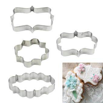 High Service 4PCS Plaque Frame Fondant Cookie Cutter Set SquareRectangle Oval Cake Mold Mould Set Craft