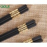 10 Pairs Japanese style non-slip alloy chopstick – Gold Curve