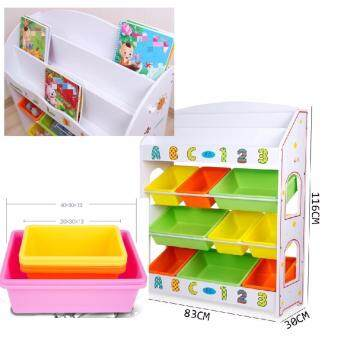Kids Wooden Toy And Book Storage Shelf 4 Level Childrens Bookcase Bookshelf Big Size 83CM*30CM*116CM