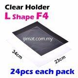 L Shape Clear Folder / Transparent Holder File F4 Size  / L Shape PVC Transparent Document Filing Holder 24pcs Each Pack - I JIMAT L-Shape