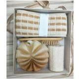 Like Bug: Exfoliating Kit Set with Bath Body Brush - Loofah Sponge - Bath Towel & Healthy Hair Brush