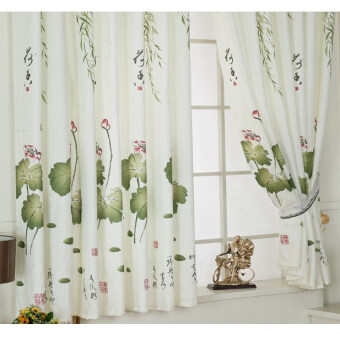 Lotus Printing Tulle Voile Door Window Curtain Drape Panel SheerScarf Valances-