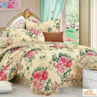 Maylee High Quality Cotton 3pcs Queen Fitted Bedding Set 450TC (Brown Flower)