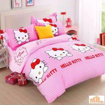 Maylee High Quality Cotton 3pcs Queen Fitted Bedding Set 450TC (Hello Kitty)