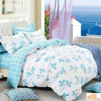Maylee High Quality Cotton 3pcs Queen Fitted Bedding Set 450TC(Blue Leave)