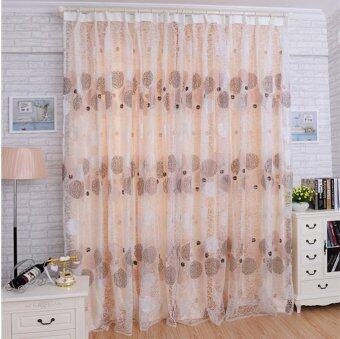 Nest Floral Voile Door Curtain Window Room Curtain Divider ScarfExcellent Coffee-