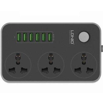 Original LDNIO SC3604 Power Strip with 3 AC Sockets + 6 USB Ports -Black / MY Plug