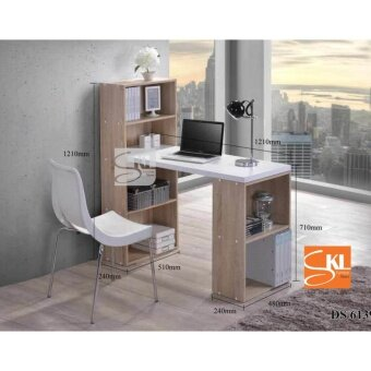 SKL6139 2in1 L-SHAPE STUDY TABLE WITH BOOK SHELF (Natural Oak)
