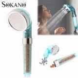 SOKANO 8cm Large Diameter Anionic High Pressure Water Saver Shower Head With Universal fitting- Blue