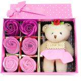 SOKANO Cutie Bear With 6 PCs Flower Soap- Pink