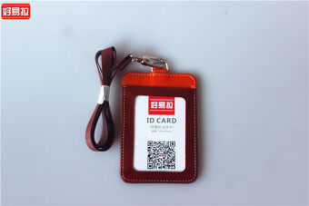 Two-Tone high quality documents card sets leather badges staff lanyard access card sets badge show tag and beautiful