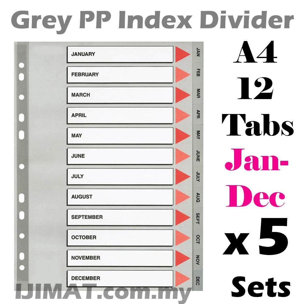 5 Sets Grey PP Index Divider 12 Month / Gray Plastic Index Separator 12tabs /...
