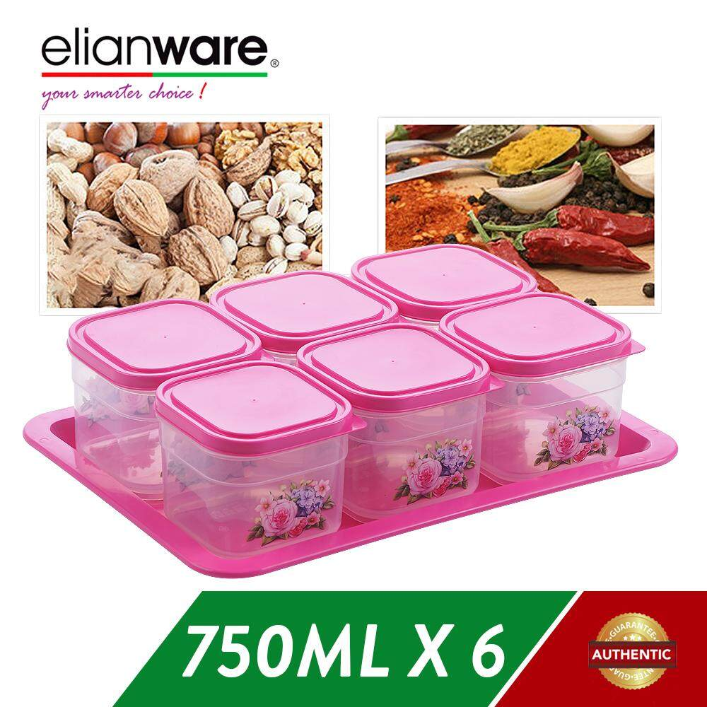Elianware 6 Pcs BPA Free Cookies Snacks Candy Square Airtight Plastic Container with Tray Bekas Kuih Raya