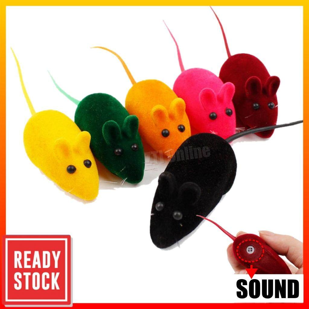 ZTI Flocking Mouse Shape Cat Toys Sound False Rat Pet Kitten Plaything Tikus Mainan Kucing