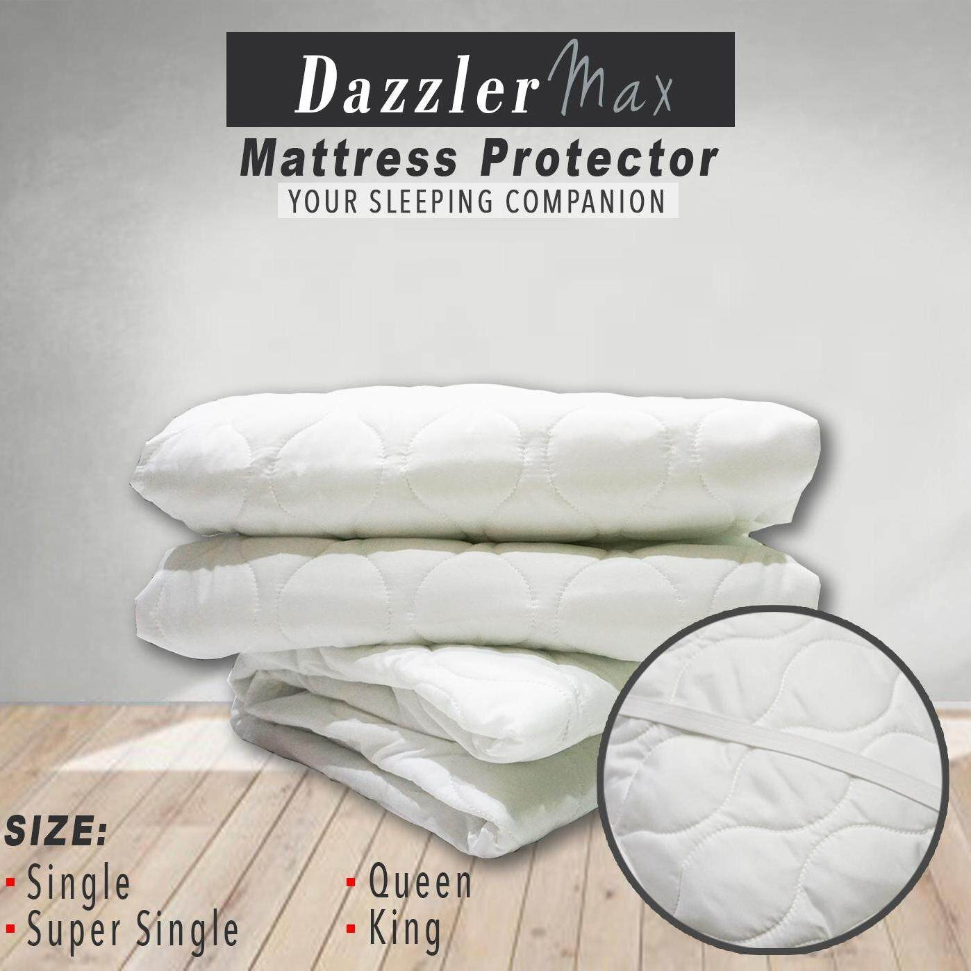 Dazzler Max Elastic Soft Comfortable Mattress Protector (Four strips at corner) Fitted Bedding Sheet  Machine Washable  Single  Super Single  Queen  King