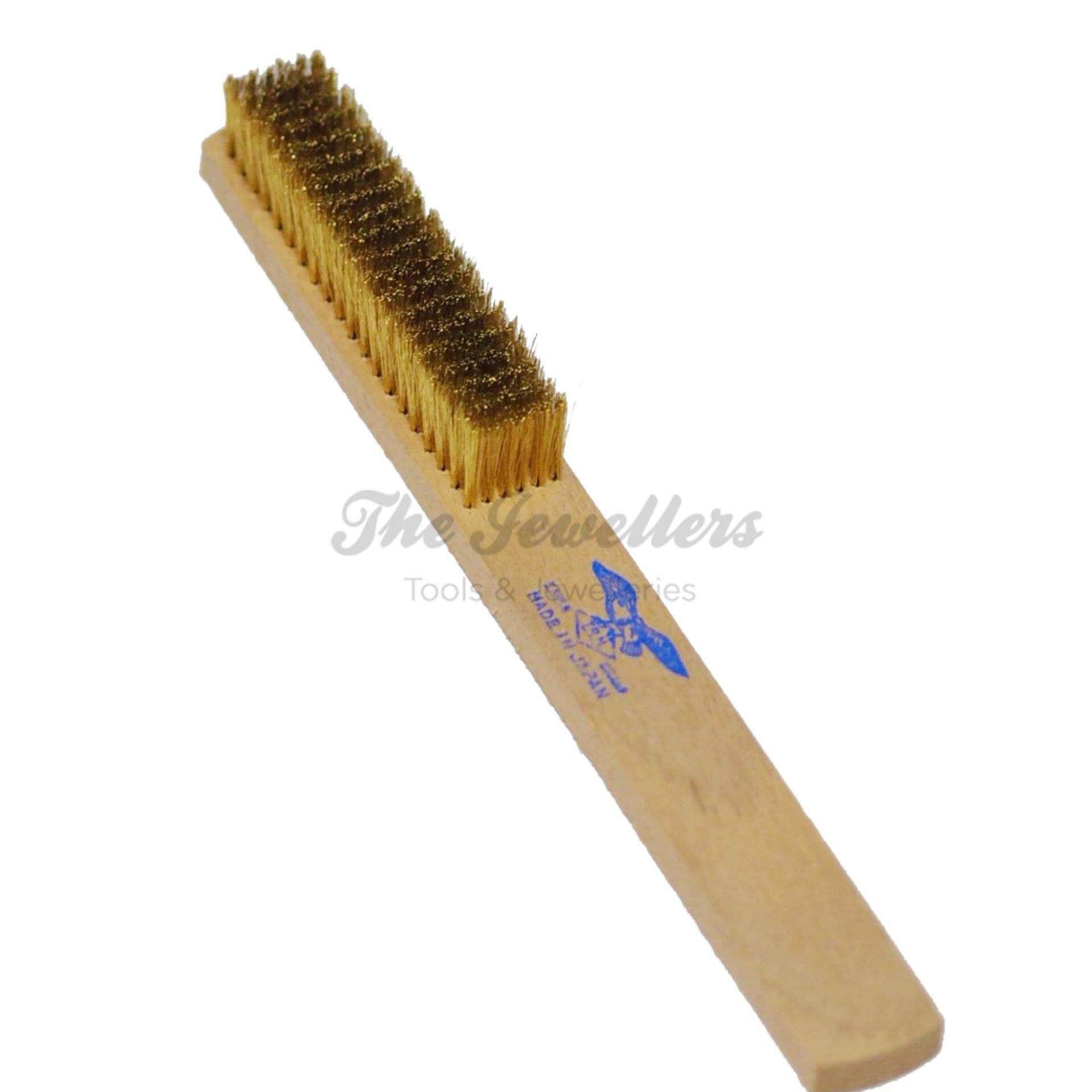Eagle 6 Rows Soft Brass Wire Brush with Wooden Handle for Jewellery Cleaning