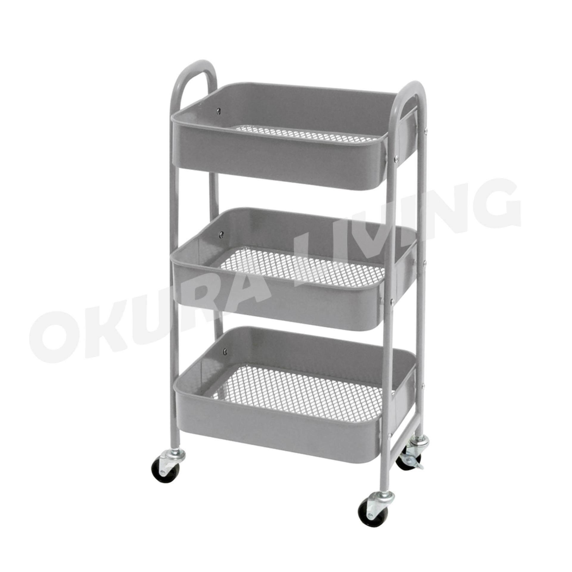 OKURA Utility 3 Tier Storage Trolley