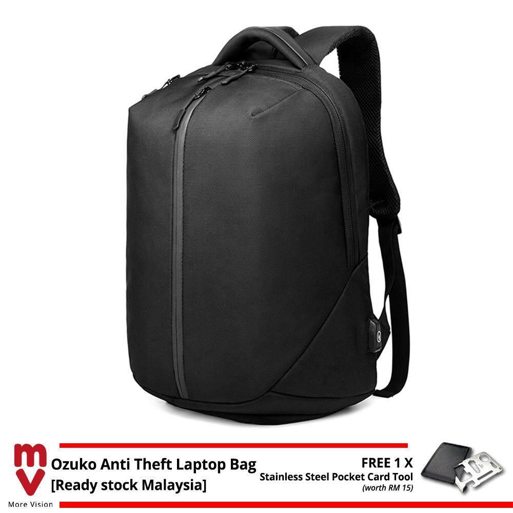 OZUKO Backpack Anti Theft Laptop Bag USB Charging School Beg Men 15.6 Waterproof Travel Bagpack MI5001