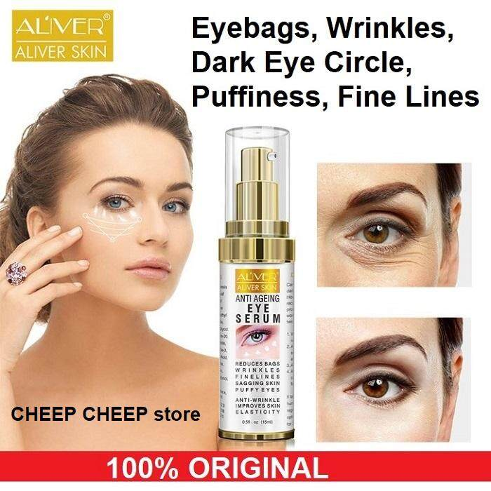 [BDAY SALE] Aliver Anti-Aging Eye Serum for Eyebags Puffiness Dark Circles Fine Lines Wrinkles Crows Feet – Lifting Firming Hydrating Moisturizing Formula 15ml