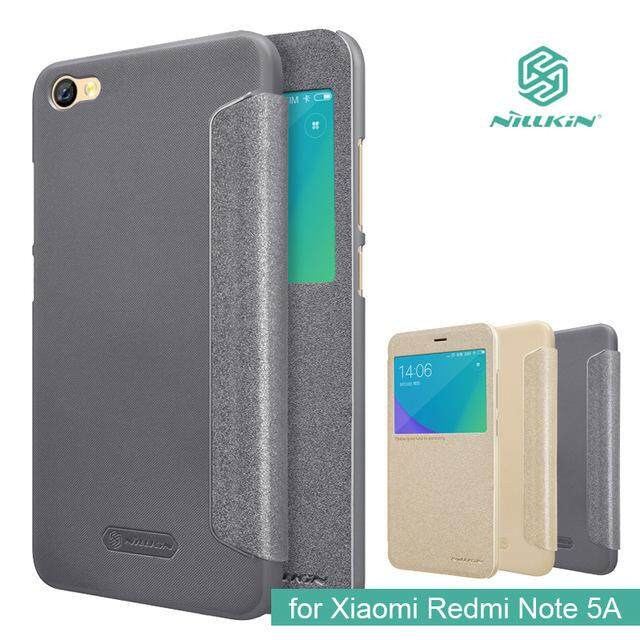 Nillkin Sparkle Smart Flip Leather Case for Xiaomi Redmi Note 5A (Grey/Gold)