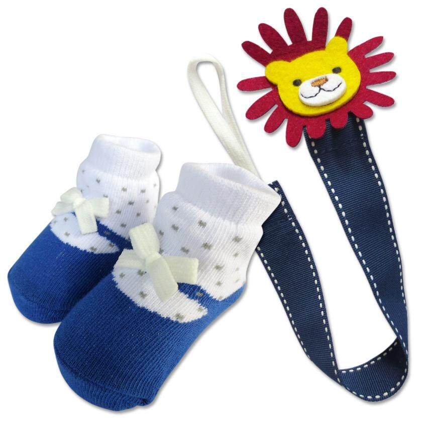 Bumble Bee Baby Pacifier Clip with Socks Set (Lion)
