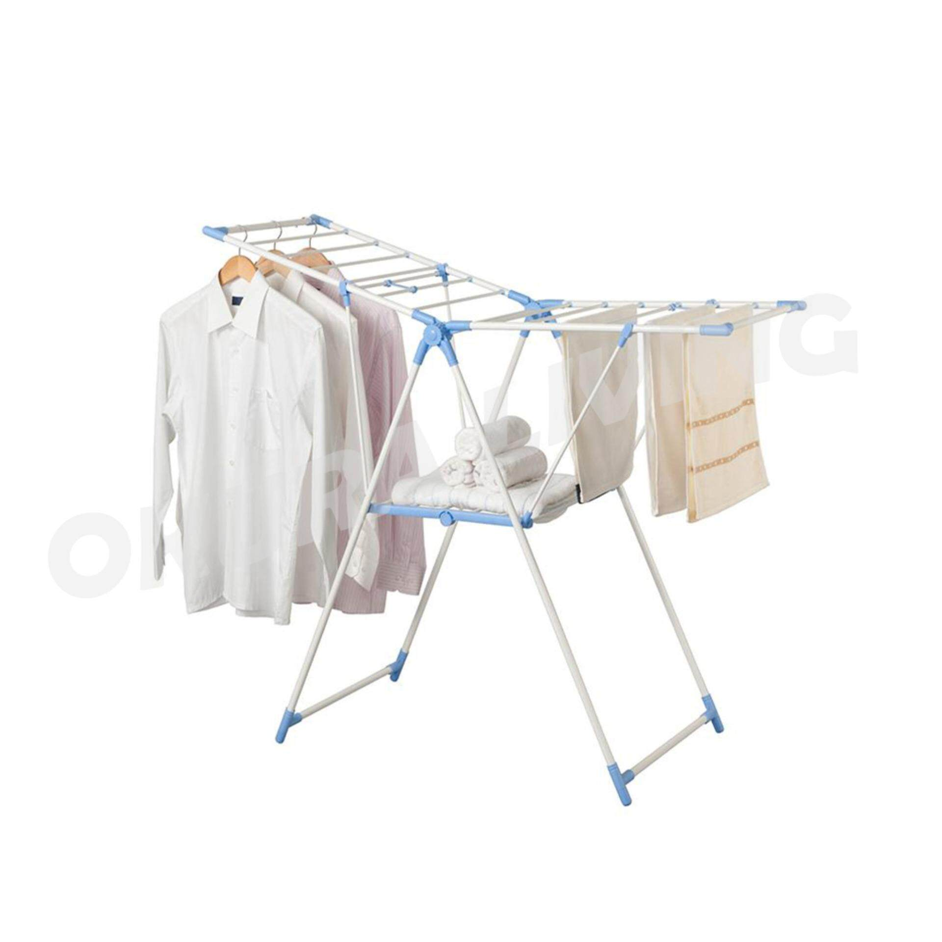 Okura Laundry Drying Rack Double Layer Butterfly Foldable Cloth Hanger Cloth Dryer