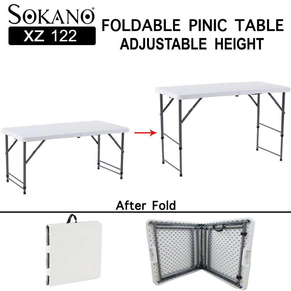 SOKANO XZ122 Adjustable Height Foldable Banquet Table Function Catering Buffet Hall Folding Table Picnic Table Meja Lipat Banquet Niaga