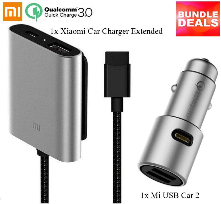 [Bundle Deals] Original Xiaomi Clip-on Car Charger Expansion and Original Xiaomi Mi Car USB Adapter Charger 2 Two slots Fast Charging