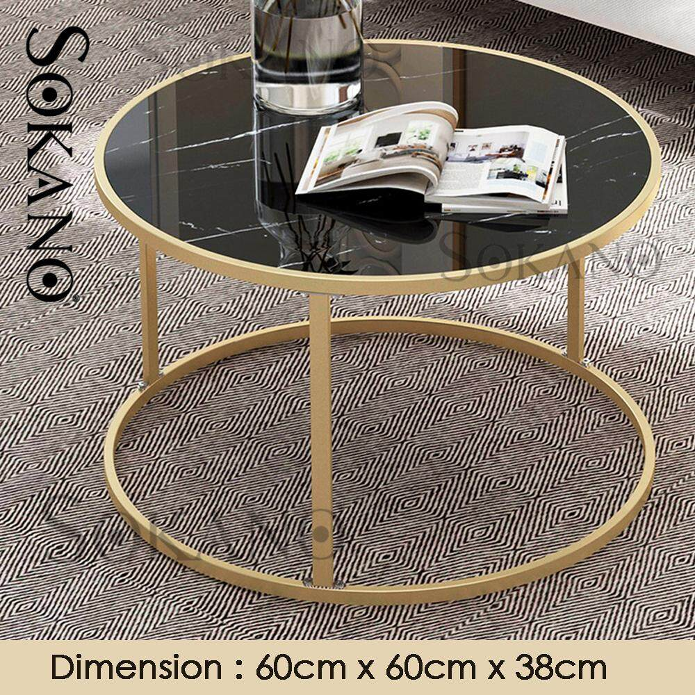 SOKANO E5070A Nordic Style Round Coffee Table Side Table Small Table With Marble Strap Surface Living Hall Furniture Meja Kopi