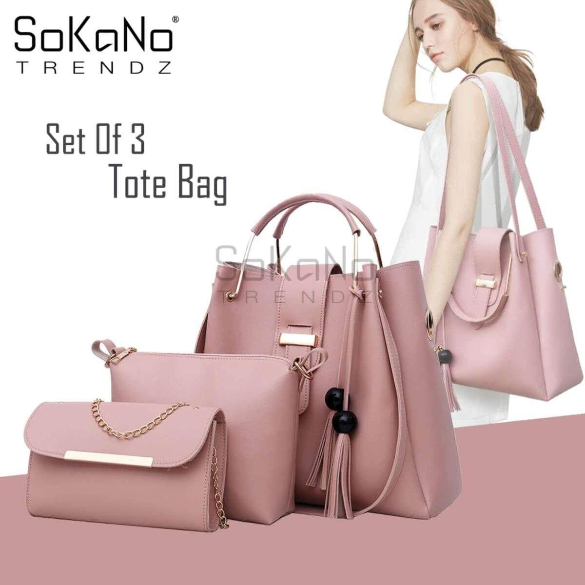 SoKaNo Trendz SKN841 Large Capacity European Designed Luxury Tote Bag (Set Of 3) Handbeg Wanita