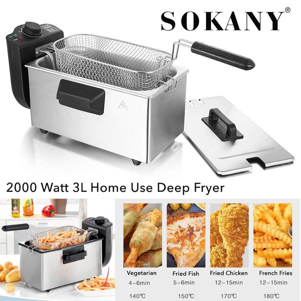 SOKANY 800 2000 Watt 3 Liter Home Use Electric Deep Fryer Goreng Minyak Goreng (Free Adaptor)