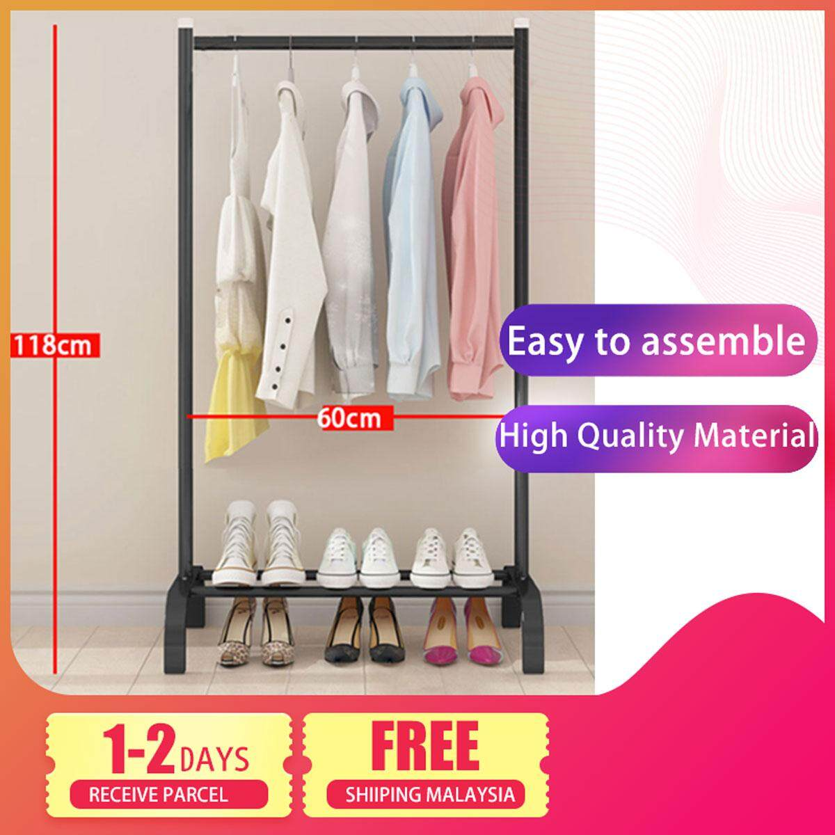 Delly Floor clothing Rack Portable 60 cm Design Bedroom Hanger Household Creative Black HCR-60B