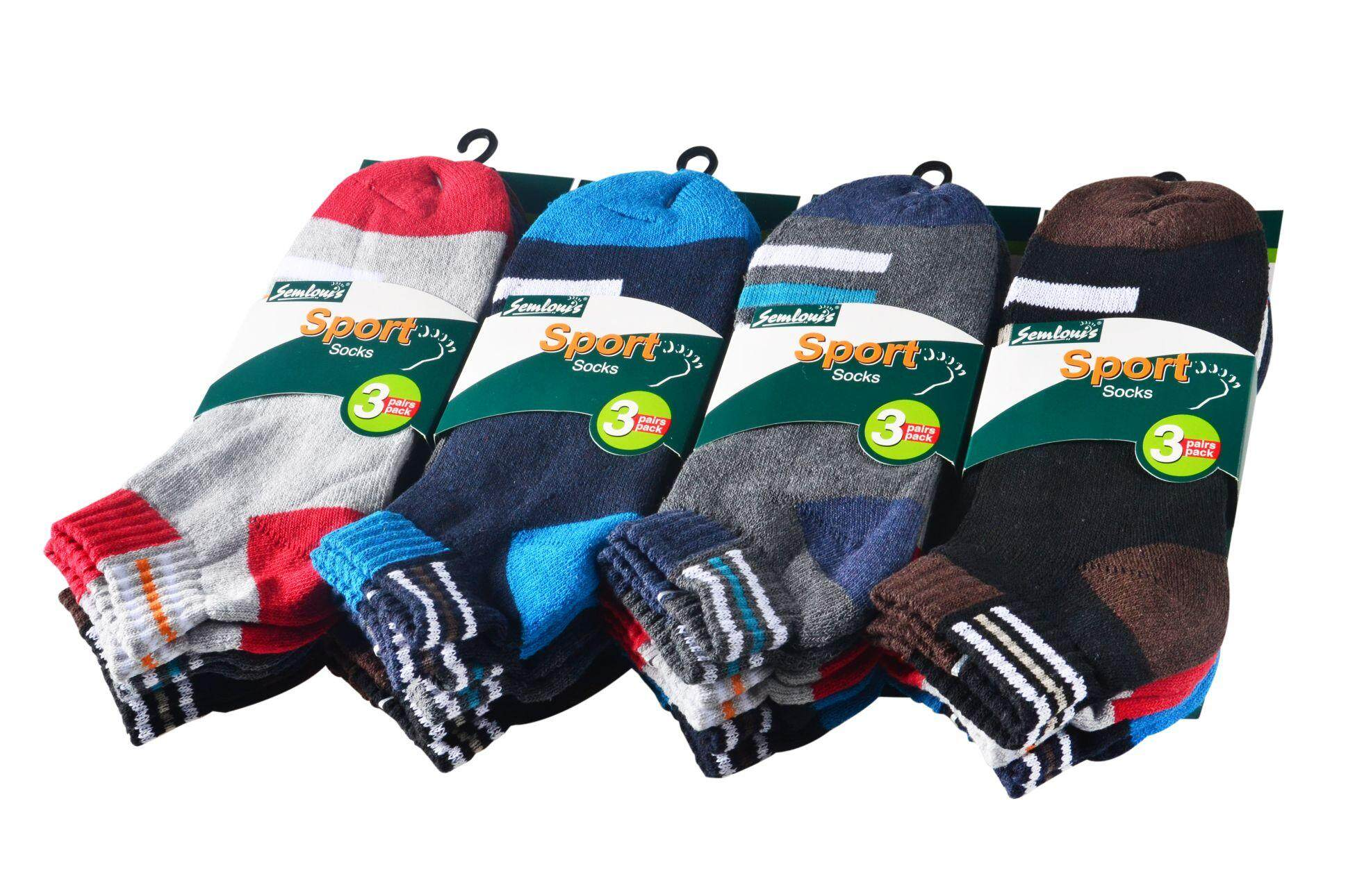 Semlouis 3 in 1 Ankle Cushion Base Socks - Basic Design with Lines / PKT