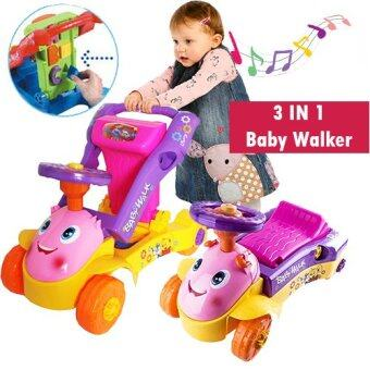 3 IN 1 My 1st Steps Push & Ride Baby Walker Ride on Car ToyPINK