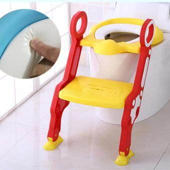 Baby Toilet Trainer Safety Seat Chair Step with Adjustable LadderInfant Toilet Training Folding Seat Urinal Seating Potties