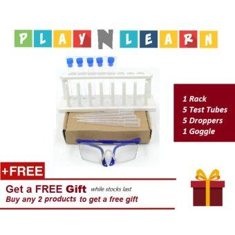 Learning Planet PlayNLearn Junior Chemistry Science Experiment Kit (5 Plastic Test Tube, Rack, 5 Droppers & 1 Safety Goggle for Kid/Children)
