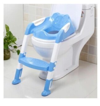 New Baby Toddler Potty Toilet Trainer Safety Seat Chair Step withAdjustable Ladder Infant Toilet Training Non-slip Folding Seat-blue