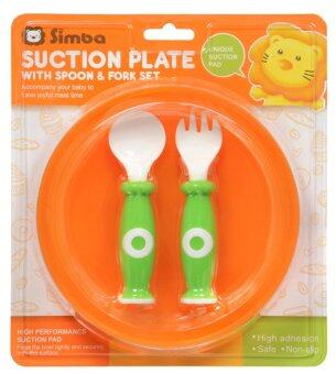 SIMBA SUCTION PLATE WITH SPOON & FORK SET / ORANGE