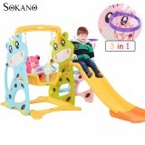SOKANO 3 in 1 Bear Swing Slide and Basketball Indoor Mini Playground toys for girls
