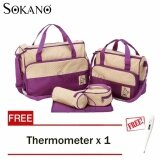 SOKANO 5 in 1 Mummy Essential Diaper Bag- Purple (Free Home Digital Thermometer For Baby And Kids)
