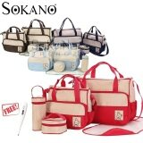 SOKANO 5 in 1 Mummy Essential Diaper Bag- Red (Free Home Digital
