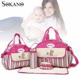 SOKANO GANEN 6 Pcs Set Mummy Fashion Tote Bags- Rose Red
