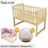 SOKANO HB501 Single Tier 3 in 1 Natural Paintless Nontoxic Easel Wooden Baby Cot and Cradle Free Mosquito Net Free 5 in 1 Bedding Set- Pink Princess