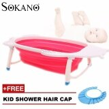SOKANO Large Size Foldable Bath Tub - Rose Red (Free Kid Shower Cap)