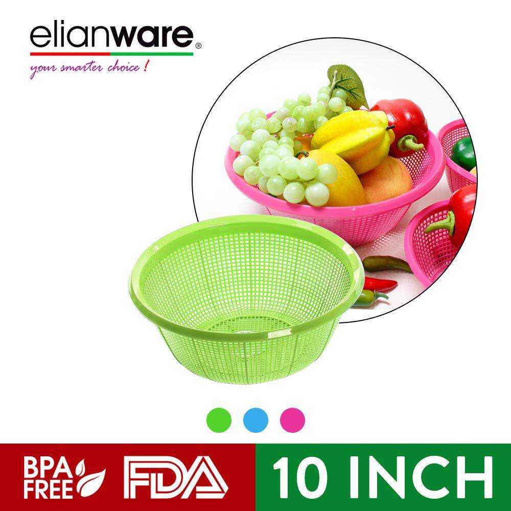 Elianware (3 Pcs Set) Round BPA Free Multipurpose Kitchen Fruit Vegetable Strainer Colander