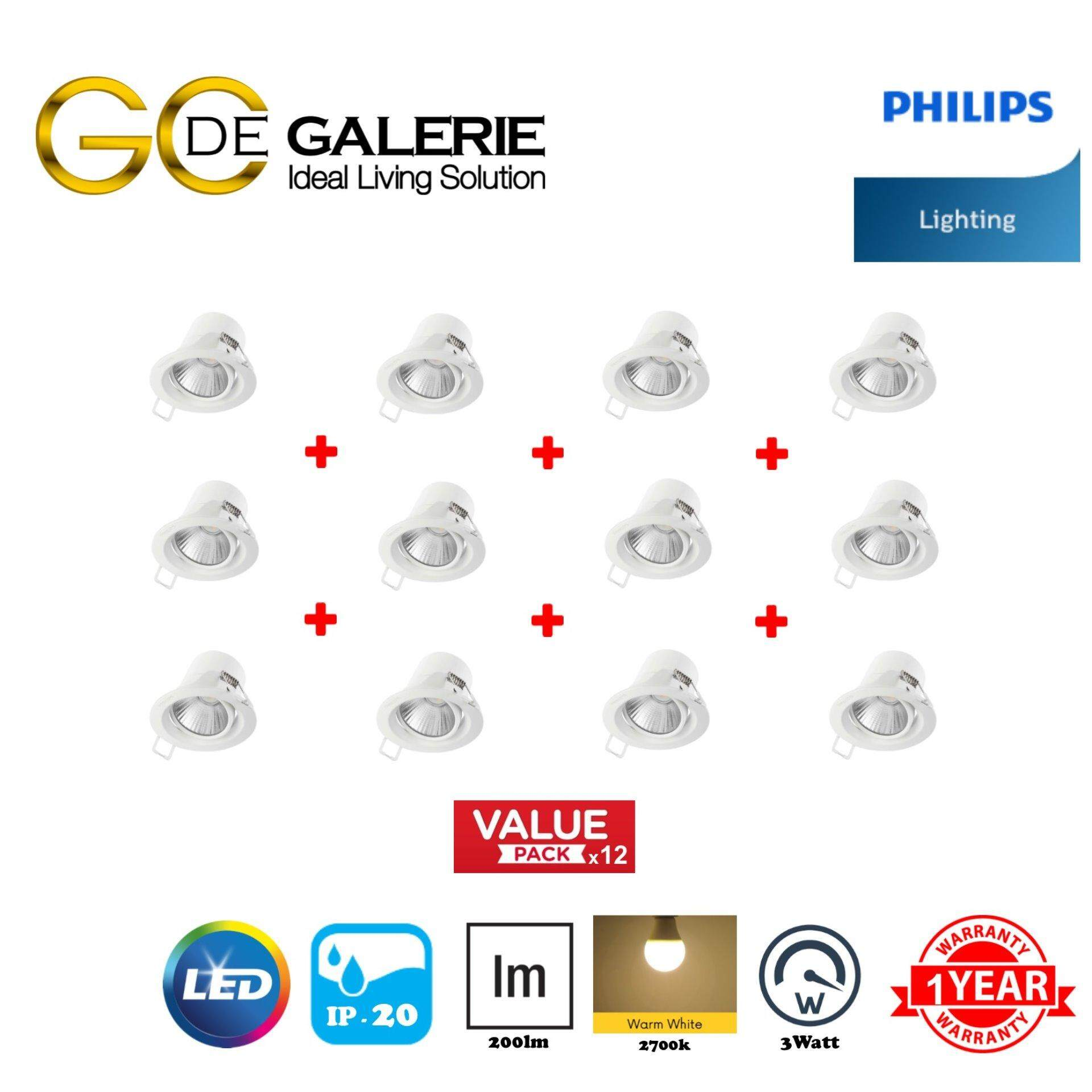 SPOTLIGHT LED KYANITE PHILIPS 59751 070 3W 2700K WH (12 PACK)