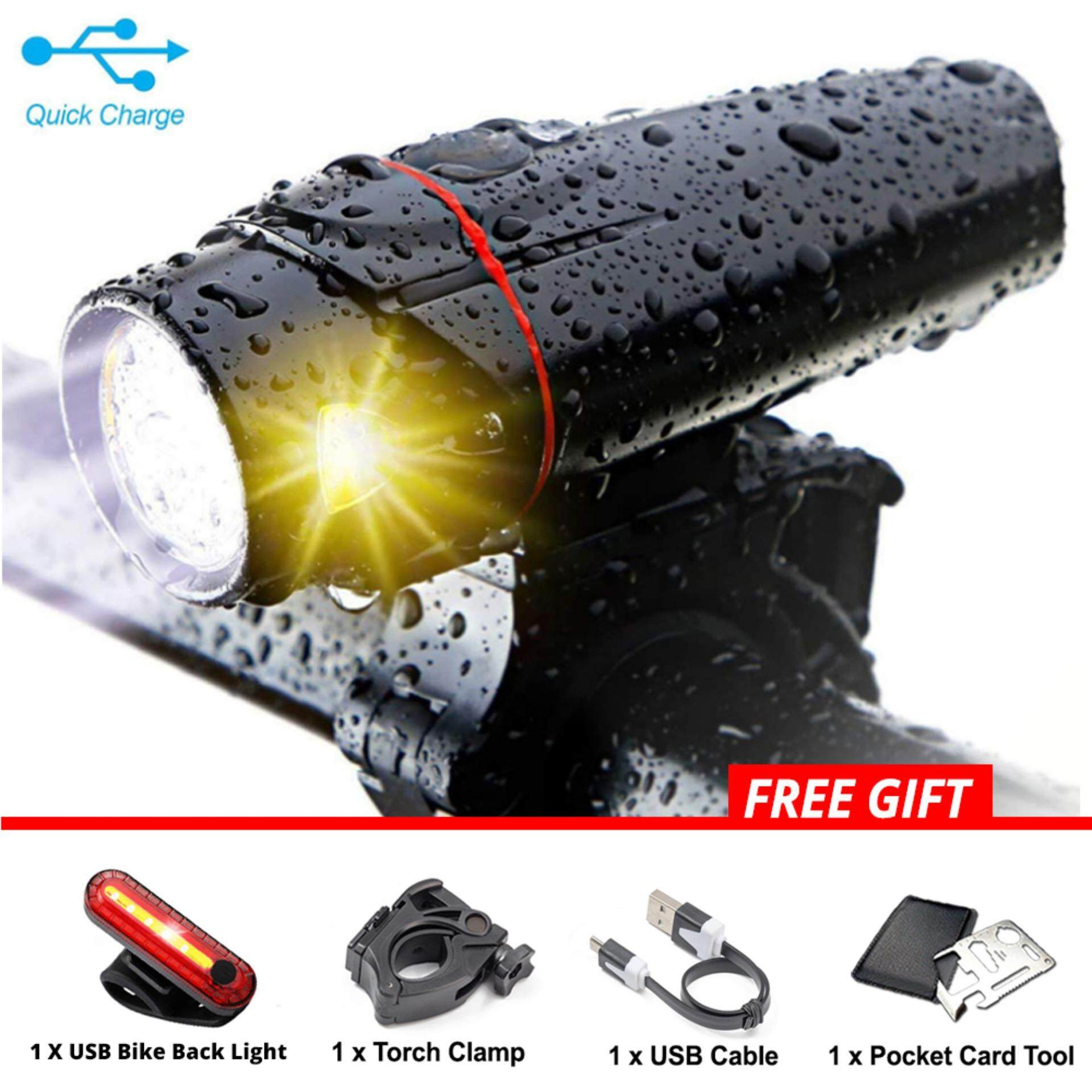 USB Rechargeable 4 Modes XML T6 CREE LED Bicycle Bike Front Light Cycling Lamp IP65 Waterproof with Stable Clamp - MI3311