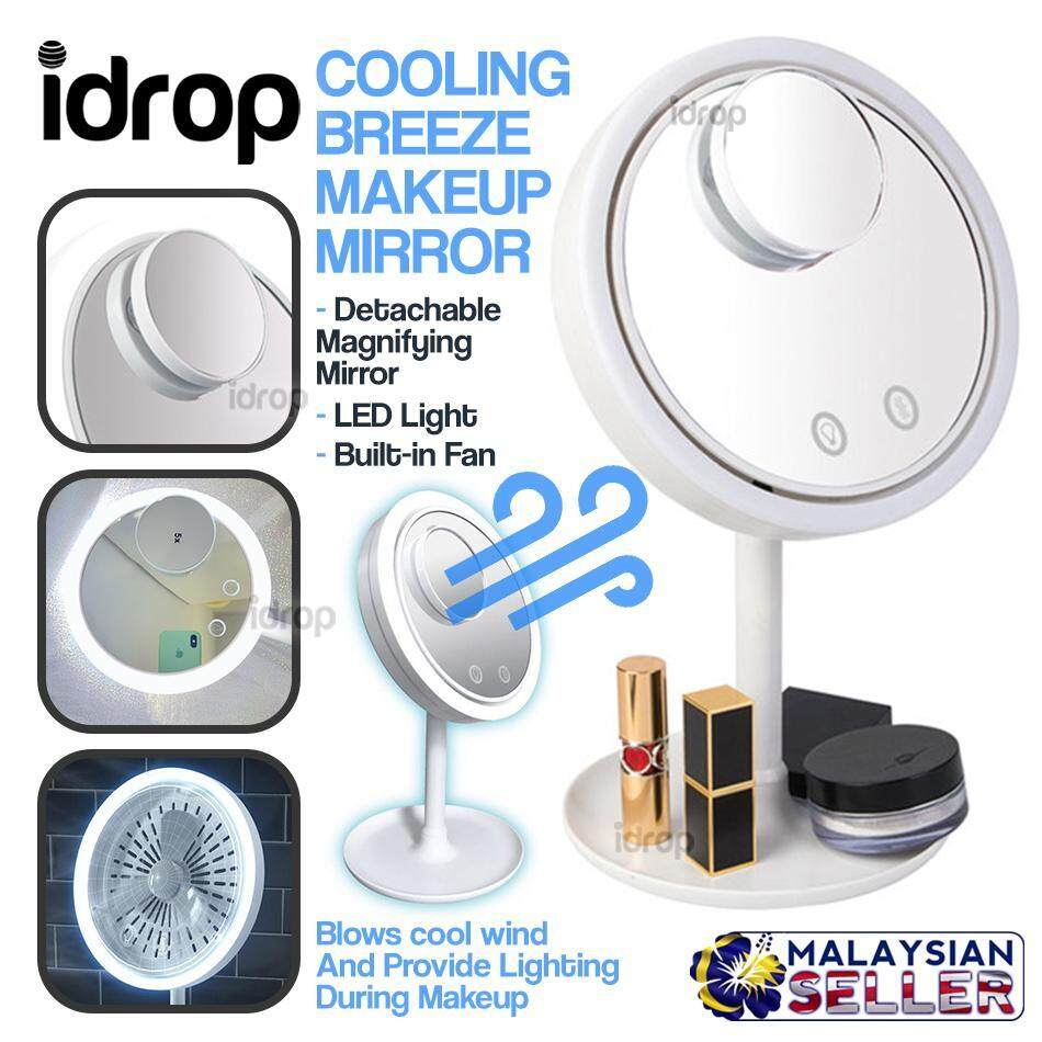 idrop Cooling Breeze Vanity Makeup Mirror with Fan & LED Lights