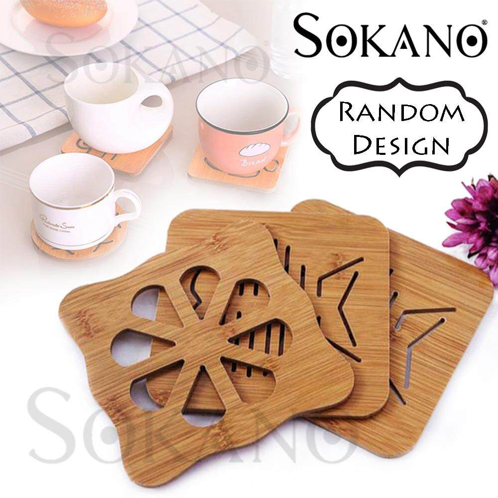 SOKANO Cute Kitchen Wood Anti-heat Hot Pot Table Mat Coaster Anti-slip Pad (Random Design)