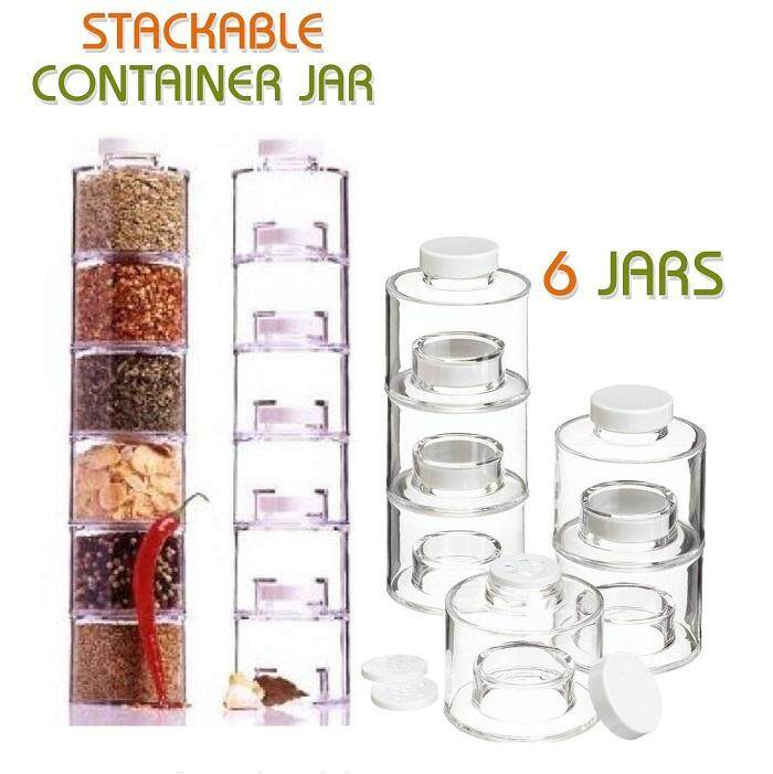 Spice Jar Tower 6 Self Stacking Seasoning Condiment Space Saving Organizer Stackable Storage Rack Jars Bottles with Sifter Lids (set of 6)